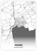Hoorn plattegrond - A3 poster - Zwart witte stijl