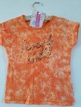 Knot so Bad-meisjes-t-shirt-kleur: oranje met pailletten-maat 110