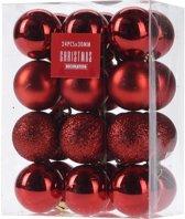 24x Rode kunststof kerstballen 3 cm - Glans/mat/glitter - Onbreekbare kerstballen plastic - Kerstboomversiering rood