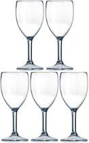 5x Arcoroc Outdoor Perfect wijnglas SAN hard kunststof 300 ml - Onbreekbare camping/picknick glazen