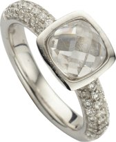 Silventi 943283618 58 Zilveren Ring - met Zirkonia - Vierkant - Zilverkleurig