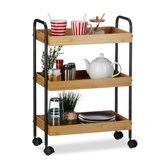 relaxdays bamboe theewagen - serveerwagen - keukentrolley - 3 etages - bijzetwagen hout