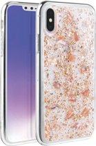 iPhone Xs Max  - UNIQ -  Zeer mooi ontworpen hoesje extreem sterk & duurzaam materiaal – Lumence Clear–  Rose Gold/ Roze, glitters & Flexibele rubberen/ transparante achterkant