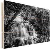 Zwart-wit beeld van het Nationaal park Krka in Kroatië Vurenhout met planken 90x60 cm - Foto print op Hout (Wanddecoratie)
