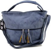 Double-Dutch Omhang Hand & Schoudertas Blauw Fashion Tas