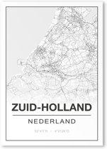 Poster/plattegrond ZUID-HOLLAND - A4