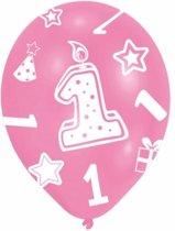 Roze ballonnen 1 jaar 6 stuks - 1ste verjaardag ballonnen