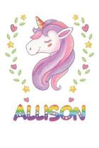 Allison: Allison Notebook Journal 6x9 Personalized Gift For Allison Unicorn Rainbow Colors Lined Paper