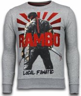 Local Fanatic Rambo - Rhinestone Sweater - Licht Grijs - Maten: XXL