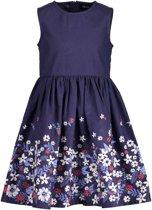 Blue Seven Meisjes Donkerblauwe jurk met bloemrand - Maat 128