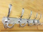 LW Collection - Kapstok muurkapstok wandkapstok RVS zilver 5 haken kledinghaken kledinghaak haak