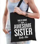 Katoenen kadotas This is what an awesome sister looks like zwart -  cadeautas voor zusjes