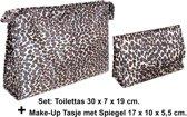 2 Delige Toilet - & Make-up tas (met Spiegel) set - Sneeuwpanter
