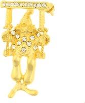Behave® Broche clown op schommel goud kleur 4,5 cm