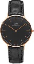 Daniel Wellington Classic Black Reading DW00100141  - Horloge - Leer - Zwart - Ø 36 mm
