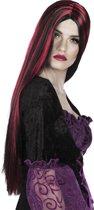 Lange pruik rood en zwart voor dames Halloween - Verkleedpruik - One size