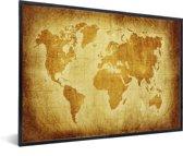 Wereldkaart - Muurdecoratie - Perkament - Bruin in lijst zwart 40x30 cm