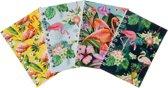 Lg-imports Notitieboekjes 11 Cm Flamingo 4 Stuks