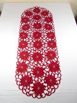 Kerst tafelloper - Rood - opengewerkt - Bloemen - Loper 110 cm - 353R