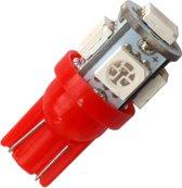 T10 - ROOD - 5 LED - 12V - 5050 SMD