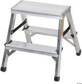 Aluminium dubbelzijdige trapladder 2x2 treden