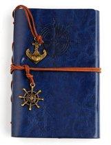 KELERINO. vintage Lederen Notitieboek met windroos  - Blauw