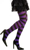 Gestreepte panty paars/zwart neon XL