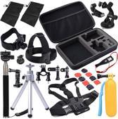 Aretica 30-delige GoPro accessoire set / Accessoire set voor de GoPro / Head mount, chest mount, selfiestick en meer - Zwart