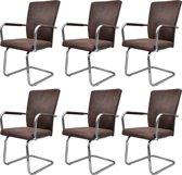 vidaXL Eetkamerstoelen modern design kunstleer bruin 6 st