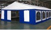 Premium Partytent PVC 4x10x2 mtr in Wit-Blauw