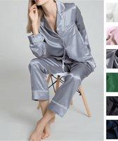 Dames zijden pyjama set , Mairne blauw, M