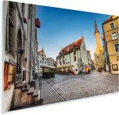 Een schitterende straat in het Stadshart van Tallinn Plexiglas 180x120 cm - Foto print op Glas (Plexiglas wanddecoratie) XXL / Groot formaat!