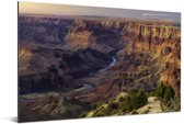 Zonsondergang met uitzicht op de Colorado rivier diep in de Grand Canyon Aluminium 180x120 cm - Foto print op Aluminium (metaal wanddecoratie) XXL / Groot formaat!