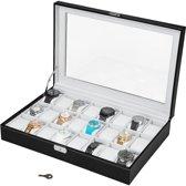 TecTake Horlogebox - Zwart - 24 horloges