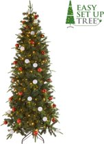 Kerstboom met versiering Easy Set Up Tree® LED Avik Decorated Red 210 cm - Luxe uitvoering - 310 Lampjes
