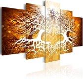 Schilderij - Genesis van liefde, Bruin/Oranje, 2 Maten, 5luik