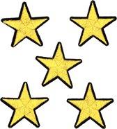 Strijk embleem 'Sterren goud patch set (5)' – stof & strijk applicatie