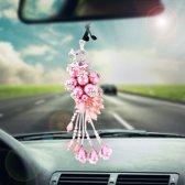 Mooie auto-ornamenten Plastic bloem Crystal stijl opknoping decoratie (roze)