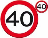 Placemats en Onderzetters 40 Jaar Verkeersbord 4 stuks