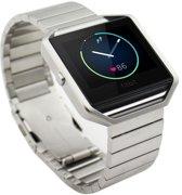 Solid Stainless Steel Bandje + Glass 9H Screen Protector  voor Fitbit Blaze - Zilver
