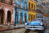 Colourfull street and car - Cuba - 3D metaalschilderij