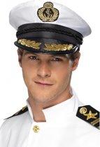 Witte kapiteins pet met logo