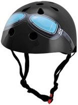 Kiddimoto - Zwarte Bril - Small - Geschikt voor 2-6jarige of hoofdomtrek van 48 tot 52 cm - Skatehelm - Fietshelm - Kinderhelm - Stoere helm - Jongens helm