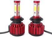 2 STKS X6 H7 36 W 3600LM 6500 K 4 COB LED Auto Koplamp Lampen DC 9-32 V Wit Licht (Rood)