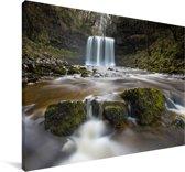 Waterval bij het Nationaal park Brecon Beacons in Wales Canvas 90x60 cm - Foto print op Canvas schilderij (Wanddecoratie woonkamer / slaapkamer)
