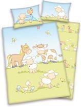 Ledikant dekbedovertrek Sweet animals - boerderij - Blauw - Ledikant (100x135 cm + 1 sloop)