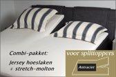 Cevilit Hoeslaken Split topper jersey hoeslaken (ANTRACIET)  + stretch-molton 180 x 200-220. Combi-voordeelpak