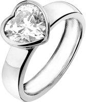 Silventi 943282875 58 Zilveren damesring - Hart Zirkonia 4,5 mm - Zilverkleurig