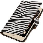 Zebra Bookstyle Hoes voor Huawei Ascend Y625 Wit