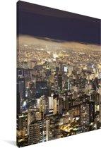 Het Braziliaanse Belo Horizonte tijdens de nacht Canvas 60x90 cm - Foto print op Canvas schilderij (Wanddecoratie woonkamer / slaapkamer)